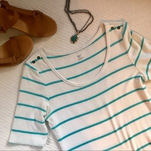 Gap Stripped Tee - teal and white